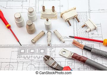 electrics, insurance, screwdrivers, copper cables