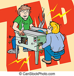 electricute2 - A student and a shop teacher working on a...