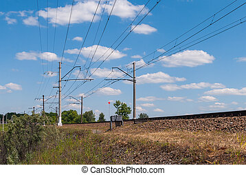 Electrified double-track railway in Russia on a Sunny day
