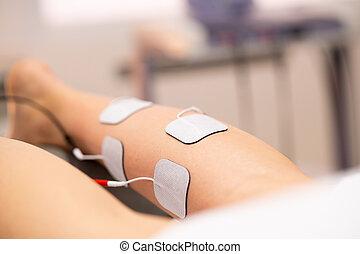 electro, физическая, стимуляция, молодой, женщина, терапия