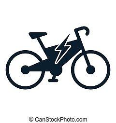 electro bicycle bike e-bike icon on white background