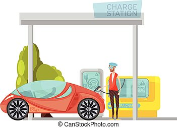 Electro Car Flat Illustration
