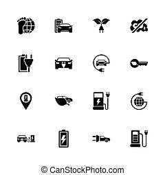 Electro Car - Flat Vector Icons