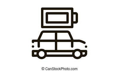electro car full battery Icon Animation. black electro car full battery animated icon on white background