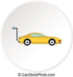 Electro car icon circle