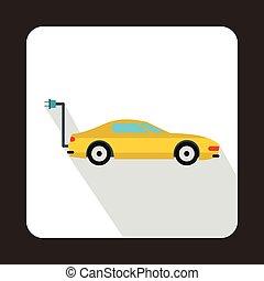 Electro car icon, flat style