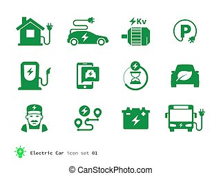 Electro Car icons collection