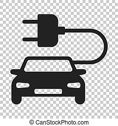 Electro car vector icon in flat style. Electric automobile illustration on isolated transparent background. Ecology car sedan concept.