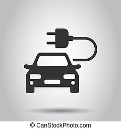 Electro car vector icon in flat style. Electric automobile illustration on white background. Ecology car sedan concept.