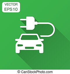 Electro car vector icon in flat style. Electric automobile illustration with long shadow. Ecology car sedan concept.