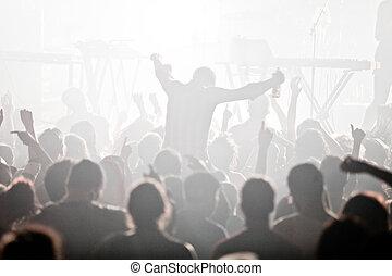 electro, concierto, y, multitud