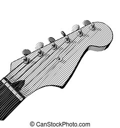 Electro Guitar engraving, non-photorealistic rendering
