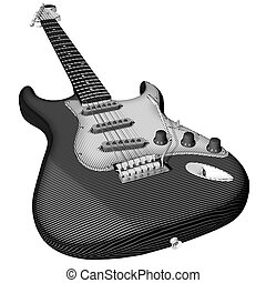 Electro Guitar engraving, top-front view, non-photorealistic rendering