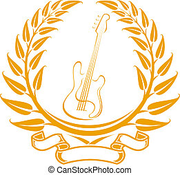 Electro guitar symbol in laurel wreath isolated on white