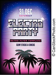 Electro party poster. Retro 80s neon background. Disco flyer template. Vertical format. Tv glitch effect.