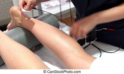 Electro stimulation in physical therapy to a young woman - ...