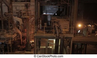Electroarc furnace at metallurgical plant hot iron