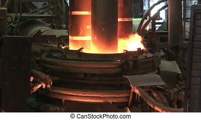 Electroarc furnace at metallurgical plant - Working ...