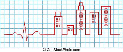 Electrocardiogram City Life Concept Vector Illustration