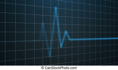 Electrocardiogram. Heartbeat waves Seamless loop