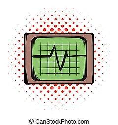 Electrocardiogram monitor comics icon