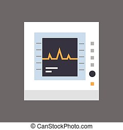 Electrocardiogram Monitor Icon Ecg Monitoring Equipment Flat...