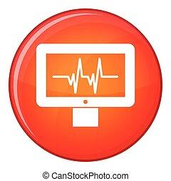 Electrocardiogram monitor icon, flat style