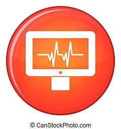 Electrocardiogram monitor icon, flat style