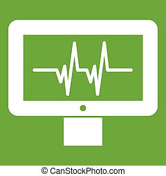 Electrocardiogram monitor icon green