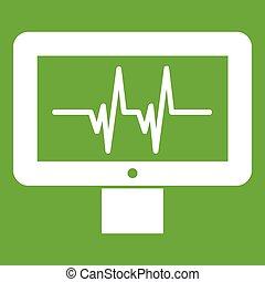 Electrocardiogram monitor icon green