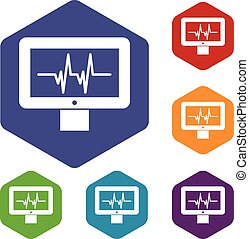 Electrocardiogram monitor icons set