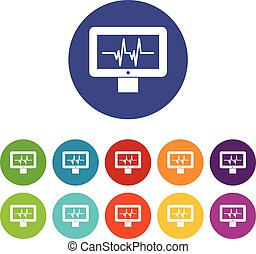 Electrocardiogram monitor set icons