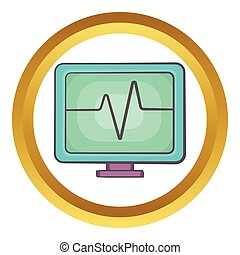 Electrocardiogram monitor vector icon