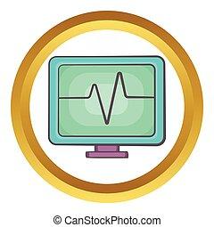 Electrocardiogram monitor vector icon