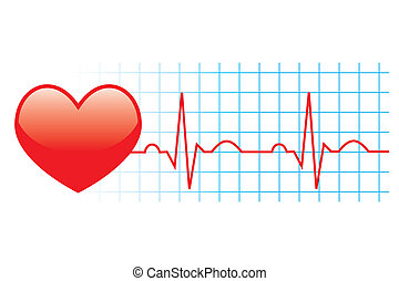 vector illusrtation of electrocardiogram on white background