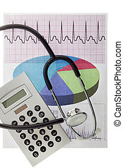 electrocardiogram with a calculator and stethoscope
