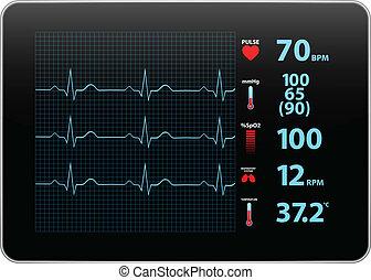 electrocardiograma, monitor, dispositivo
