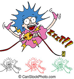 Electrocuted Woman - An image of a woman being electrocuted...