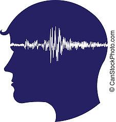 electroencephalogram, logo, tête