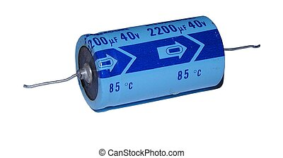 Closeup of axial electrolytic capacitor showing polarization, working voltage and capacitance