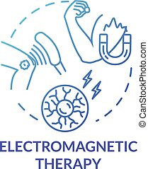 Electromagnetic therapy concept icon. Alternative medicine idea thin line illustration. Pseudoscientific magnet and radio waves treatment. Vector isolated outline RGB color drawing