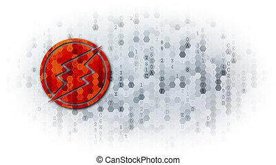 Electroneum - Web Icon on Pixelated Background.