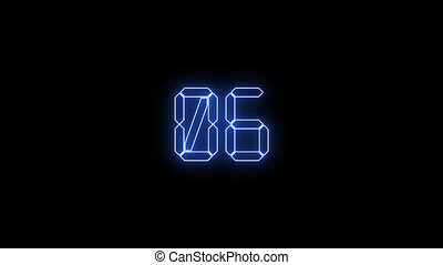 Electronic 10 second countdown timer with blue numbers on...
