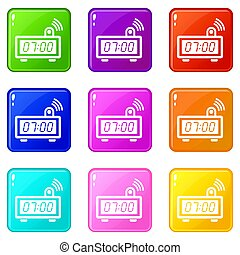 Electronic alarm clock icons set 9 color collection