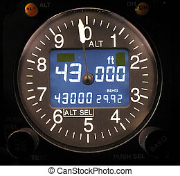 Electronic Altimeter - Electronic Aircraft altimeter showing...