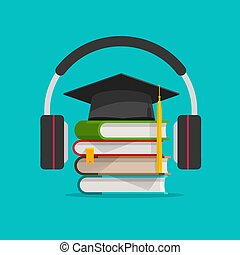 Electronic audio learning or studying online vector...