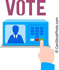 Electronic ballot box. Vector illustration. Isolated