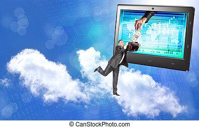 Electronic bank trades. E-financial banking business....