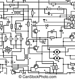 Electronic black and white diagram - seamless vector texture