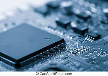 electronic board toned blue